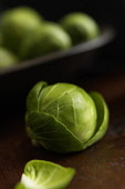 Brussel sprout, Brassica oleracea bullata, Stusio shot of green coloured vegetable.