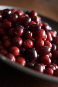 Cranberry, Vaccinium oxycoccos, Mass of red coloured berries in bowl.