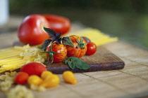 Tomato, Lycopersicon esculentum , Studio shot or red tomatoes on wooden board.