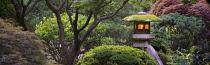 Lit lanterns in Portland Japanese Gardens, Oregon, USA.